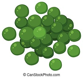 Green peas on white background