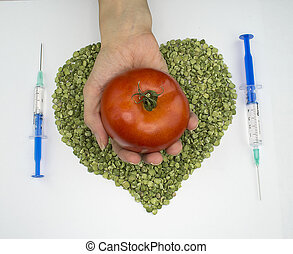 Green peas red tomato syringes