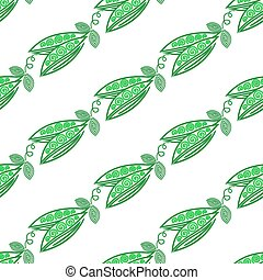 Green peas. Seamless pattern with spiral green pea. Vector vegetable illustration