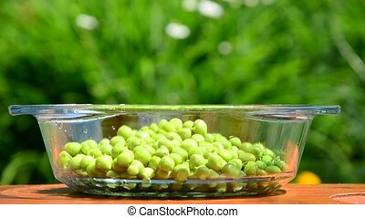 green peas spilling. peas in a container. poured into a bowl . small portions . summer sunny day . wind stirs the grass .