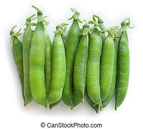 Green peas - Stacked fresh green peas [pisum sativum] - top ...