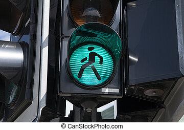 Green Pedestrian Traffic Light Sign
