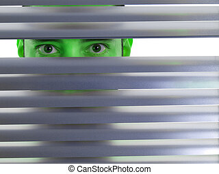 Green peeping Tom