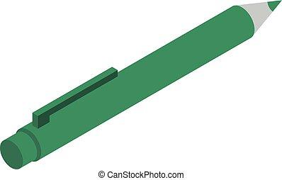 Green pen icon, isometric style