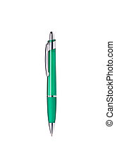 Green pen isolated with path on white