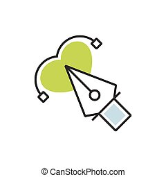Green pen tool icon and heart