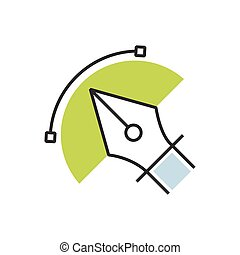 Green pen tool icon semicircle design