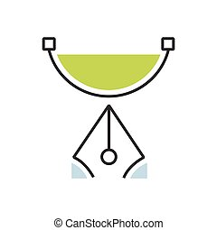 Green pen tool icon semicircle