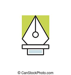 Green pen tool icon vector
