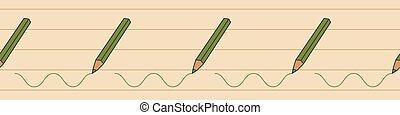 green pencil crayon seamless vector border print - Green ...