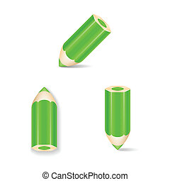 Green Pencil Icon Set. Isolated. Vector Illustration