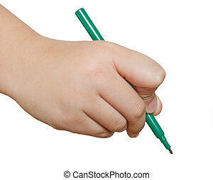 Green pencil in hand isolated