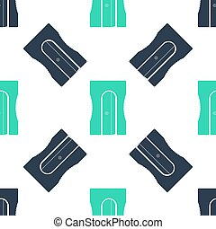 Green Pencil sharpener icon isolated seamless pattern on white background. Vector