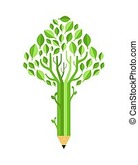Green pencil tree concept isolated for education