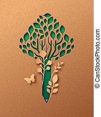 Green pencil tree paper cut education concept