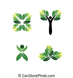 green people, eco, sustainable development vector logo icon.