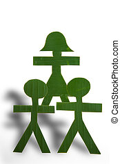Green People in a Pyramid