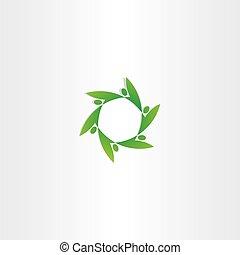 green people in circle ecology logo