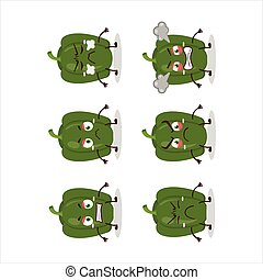 Green pepper cartoon character with various angry expressions