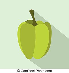 Green pepper icon in flat style