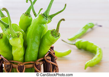 Green pepper in a small pot.
