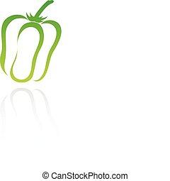 line art green pepper isolated on white