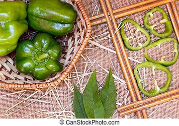 green pepper on a sackcloth