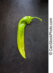 Green pepper on slate