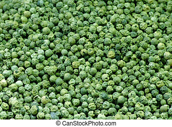 Pile of green pepper on a spice market