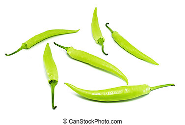 Green peppers isolated on white background. with clipping path