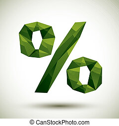 Green percent geometric icon made in 3d modern style, best for u
