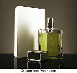 Green perfume with packaging