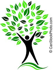 Green Person Tree Vector Icon illustration