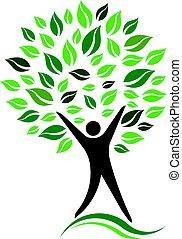 Green Person Tree Vector Icon illustration