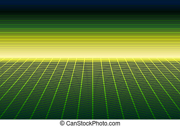 Green perspective grid, 3d dimension concept