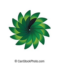 Green petals on a white background