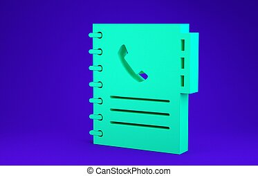 Green Phone book icon isolated on blue background. Address book. Telephone directory. Minimalism concept. 3d illustration 3D render