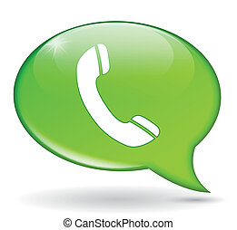 green phone bubble - vector illustration of green bubble ...