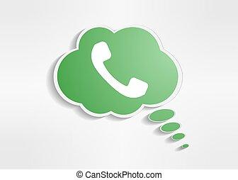Green phone handset in speech bubble icon