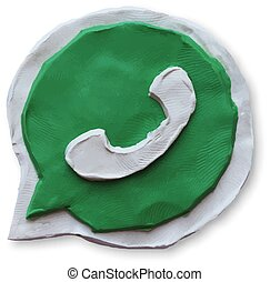 Green phone handset in speech bubble icon. Vector...