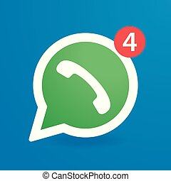 Green phone handset in speech bubble vector icon