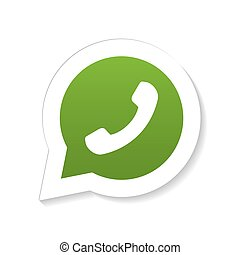 Green phone handset speech bubble - Green phone handset in...