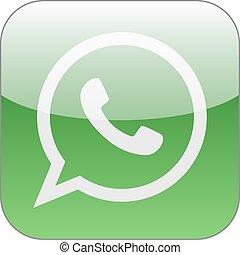 Green phone in speech bubble icon. Vector illustration.