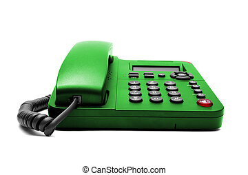 Green phone isolated on white background