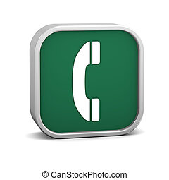 Green Phone Sign - Green phone sign on a white background. ...