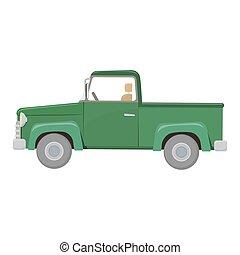 Green pick-up truck, colorful cartoon illustration. Farming...