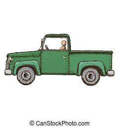 Green pick-up truck, colorful sketch illustration. Farming...