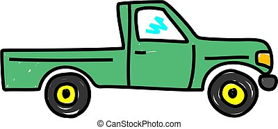 truck - green pick up truck isolated on white - truck art ...