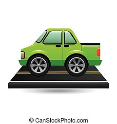 green pick up truck on road