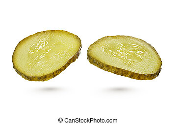 Green pickles isolated